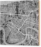 New Orleans Street Map Wood Print