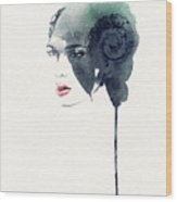 Woman Face. Hand Painted Fashion Wood Print