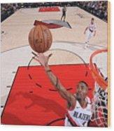 San Antonio Spurs V Portland Trail Wood Print