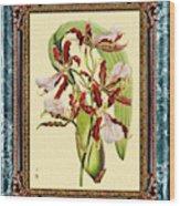 Vintage Orchid Antique Design Marble Blue-green  Wood Print