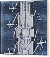 Airliners At  Gates And Control Tower Wood Print