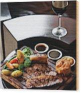 Sunday Roast Beef Traditional British Meal Set On Table Wood Print