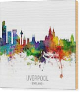 Liverpool England Skyline Wood Print