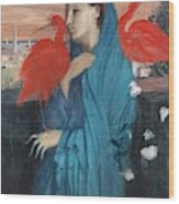 Young Woman With Ibis  Wood Print