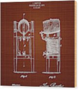 1876 Brewing Cooler - Dark Red Blueprint Wood Print