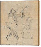 1880 Military Saddle Patent Print Antique Paper Wood Print
