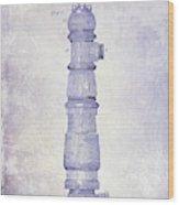 1889 Fire Hydrant Patent Blueprint Wood Print