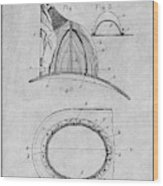 1889 Hopkins Fireman's Hat Gray Patent Print Wood Print