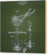 1892 Ships Anchor - Dark Green Blueprint Wood Print