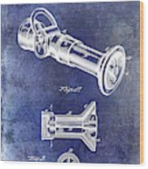 1896 Fire Hose Spray Nozzle Patent Blue Wood Print