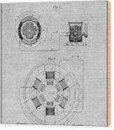 1896 Tesla Alternating Motor Gray Patent Print Wood Print