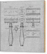1901 Gillette Safety Razor Gray Patent Print Wood Print