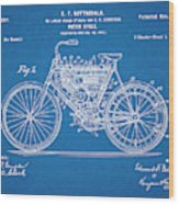 1901 Stratton Motorcycle Blueprint Patent Print Wood Print