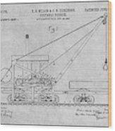 1903 Railroad Derrick Gray Patent Print Wood Print