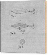 1909 Lockhart Antique Fishing Lure Gray Patent Print Wood Print