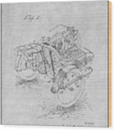1913 Side Car Attachment For Motorcycle Gray Patent Print Wood Print