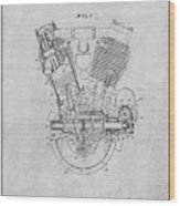 1914 Spacke V Twin Motorcycle Engine Gray Patent Print Wood Print