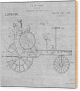 1919 Antique Tractor Gray Patent Print Wood Print
