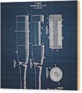 1919 Baseball Bat - Dark Blueprint Wood Print