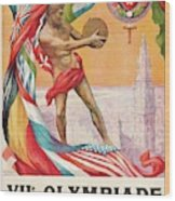 1920 Summer Olympics Vintage Poster Wood Print