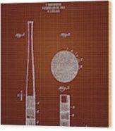1923 Baseball Bat - Dark Red Blueprint Wood Print
