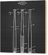 1924 Baseball Bat - Black Blueprint Wood Print