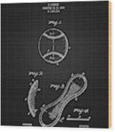 1924 Baseball Cover - Black Blueprint Wood Print