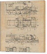 1925 Turbine Driven Locomotive Antique Paper Patent Print  Wood Print