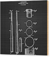 1926 Baseball Bat - Black Blueprint Wood Print