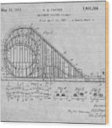 1927 Roller Coaster Gray Patent Print Wood Print