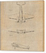 1934 Lockheed Model 10 Electra Airliner Patent Antique Paper Wood Print