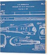 1935 Union Pacific M-10000 Railroad Blueprint Patent Print Wood Print