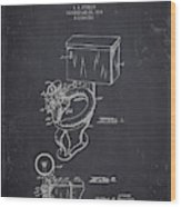 1936 Toilet Bowl - Dark Charcoal Grunge Wood Print