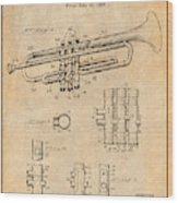 1937 Trumpet Antique Paper Patent Print Wood Print