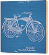 1939 Schwinn Bicycle Blueprint Patent Print Wood Print