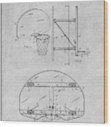 1944 Basketball Goal Gray Patent Print Wood Print