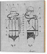 1947 Jacques Cousteau Diving Suit Patent Print Gray Wood Print