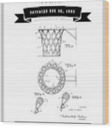 1951 Basketball Goal - Black Retro Style Wood Print