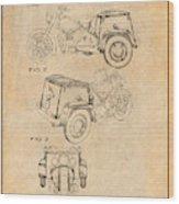 1952 3 Three Wheel Motorcycle Antique Paper Patent Print Wood Print