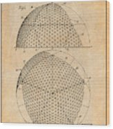 1954 Geodesic Dome Antique Paper Patent Print Wood Print