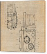 1960 Rolleiflex Photographic Camera Antique Paper Patent Print Wood Print