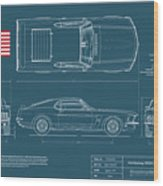 1969 Boss 302 Blueplanprint Wood Print