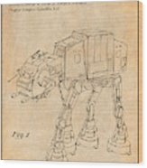 1982 Star Wars At-at Imperial Walker Antique Paper Patent Print Wood Print