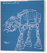 1982 Star Wars At-at Imperial Walker Blueprint Patent Print Wood Print