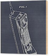 1988 Motorola Cell Phone Blackboard Patent Print Wood Print