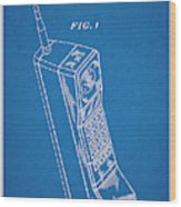 1988 Motorola Cell Phone Blueprint Patent Print Wood Print