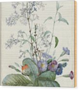 A Bouquet Of Flowers With Insects  Wood Print