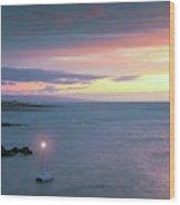 A Catamaran In Honolua Bay At Sunset, Maui, Hawaii Wood Print