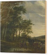 A Landscape With A Carriage And Horsemen At A Pool  Wood Print
