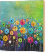 Abstract Floral Watercolor Painting Wood Print